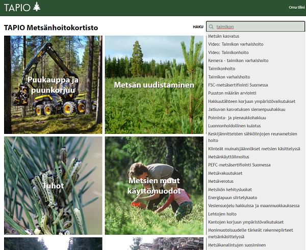 Metsänhoitokortiston hakutoiminto korttien nimistä ja sisällöistä