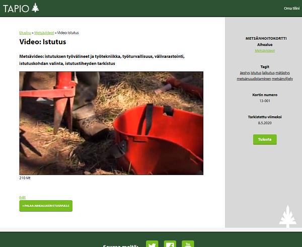 Metsänhoitokortiston videot esittelevät oikeat ja turvalliset työtavat
