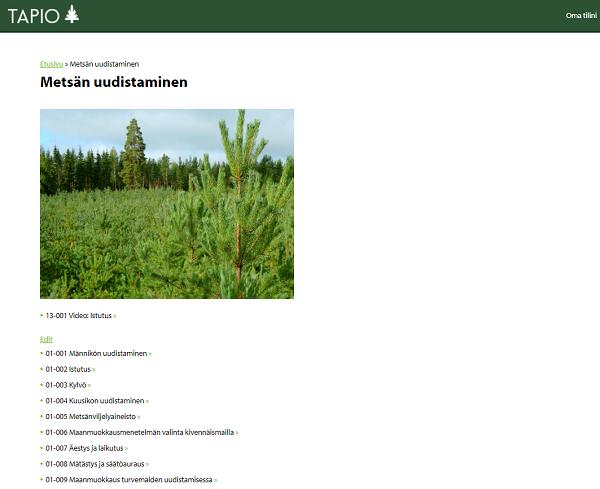 Metsänhoitokortiston aihealueen etusivu