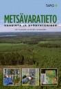 Metsävaratieto-kirjan kannessa on ilmakuva suomalaisesta talousmetsästä. Alareunan pikkukuvissa esitellään metsänmittaukseen käytettäviä välineitä, kuten relaskooppia ja mittasaksia.